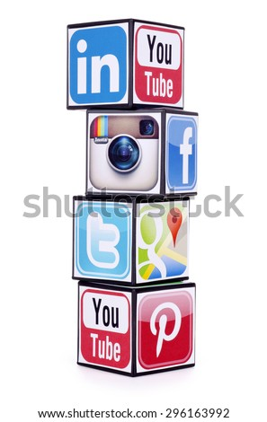 KIEV, UKRAINE - JULY 05, 2015: Cubes with logotypes of social media: Facebook, Twitter, Google Plus, Instagram,Youtube, Pinterest, Linkedin on a white background. - stock photo