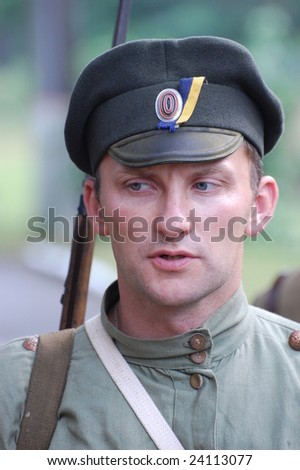 KIEV, UKRAINE, JULY 1, 2008. Military history club Red Star. Historical military reenacting. Person in  Russian uniform WW1.
