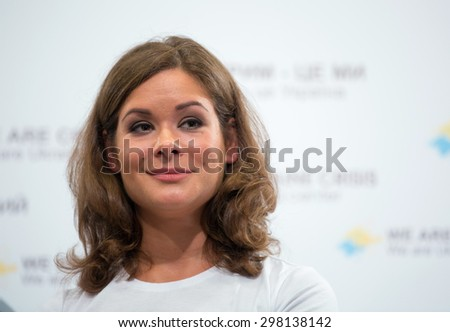 KIEV, UKRAINE - JULY, 3, 2015: Russian political activist, deputy chairman of the Odessa Regional State Administration Maria Gaidar takes part in a press conference