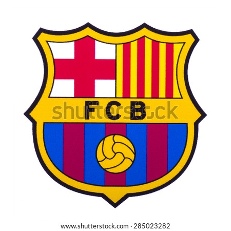 KIEV, UKRAINE - June 7, 2015: FC Barcelona logo printed on paper and placed on white background. Futbol Club Barcelona is a professional football club, based in Barcelona, Catalonia, Spain. - stock photo
