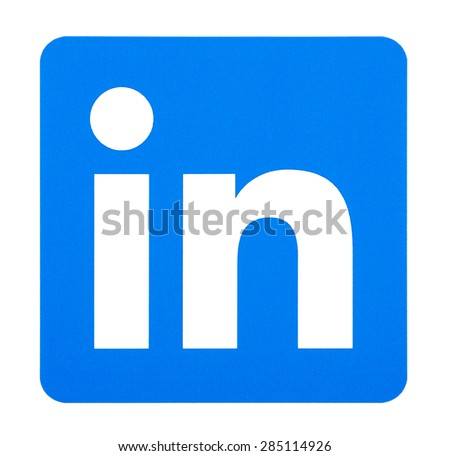 KIEV, UKRAINE - June 7, 2015: Linkedin logo printed on paper and placed on white background. Linkedin is a business-oriented social networking service. - stock photo