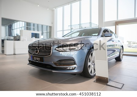 KIEV, UKRAINE - 22 JUNE: Presentation new luxury car Volvo S90 in oficial dealership in Ukraine. New model Volvo S90 in showroom. 22 June 2016, Kiev, Ukraine.