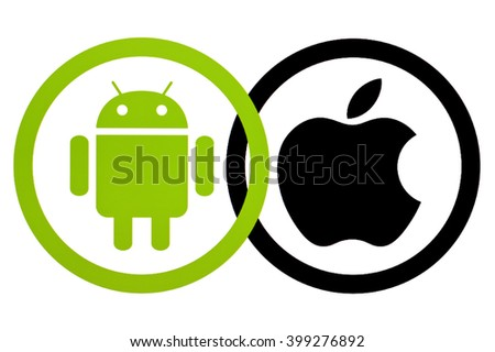 Kiev, Ukraine - March 31, 2016:  Android and Apple logotype on pc screen. Android - the operating system. Apple is an American corporation, that develops, and sells consumer electronics and computers. - stock photo