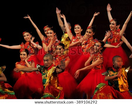 "KIEV, UKRAINE - March 1, 2016: Chineese dance. -- In National Opera of Ukraine were artists Zheng Chou Opera and Ballet Theatre, Shaolin martial arts school ""TAGO"" from Dengfeng - stock photo"