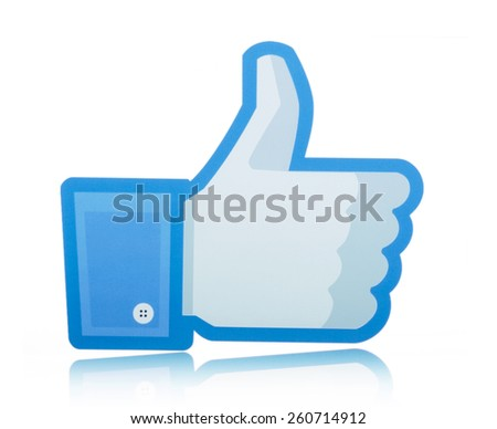 KIEV, UKRAINE - MARCH 8, 2015: Facebook like logo printed on paper and placed on white background. Social network facebook sign on pc sign.