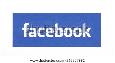 KIEV, UKRAINE - MARCH 31, 2015: Facebook logo printed on paper and placed on white background. Social network facebook sign on pc sign. - stock photo
