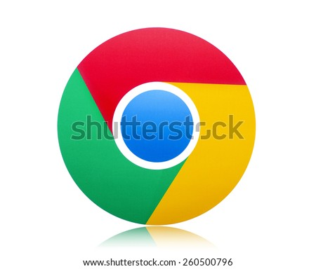 KIEV, UKRAINE - MARCH 8, 2015: Google Chrome logo printed on paper and placed on white background. Google Chrome browser sign on pc sign.