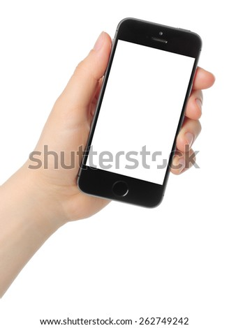 KIEV, UKRAINE - MARCH 7, 2015:Hand holds iPhone 5s Space Gray on white background. iPhone is a line of smartphones designed by Apple Inc. - stock photo
