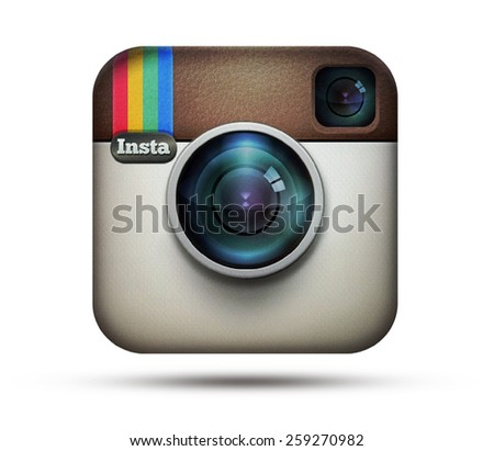 KIEV, UKRAINE - MARCH 05, 2015:Instagram logotype camera printed on paper. Instagram - free application for sharing photos and videos with the elements of a social network. - stock photo