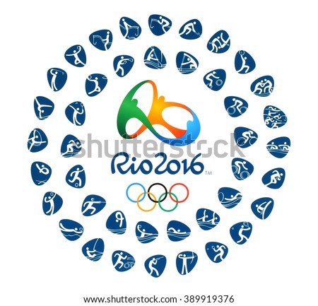 Kiev, Ukraine - March 12, 2016: Official logo of the 2016 Summer Olympic Games with kinds of sport in Rio de Janeiro, Brazil, from August 5 to August 21, 2016, printed on paper. - stock photo