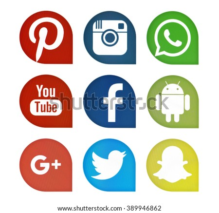 Kiev, Ukraine - March 13, 2016: Set of most popular social media icons: Facebook, Twitter,Youtube, Pinterest, Instagram, Google Plus, Snapchat, WhatsApp, Android on pc screen. - stock photo