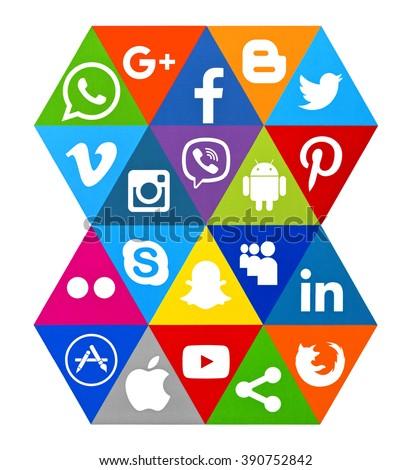 Kiev, Ukraine - March 10, 2016: Set of most popular social media icons:Instagram, Facebook, Twitter, Viber, Apple, Snapchat, Android,Skype,Pinterest Apple,Skype, Linkedin and others printed on paper. - stock photo