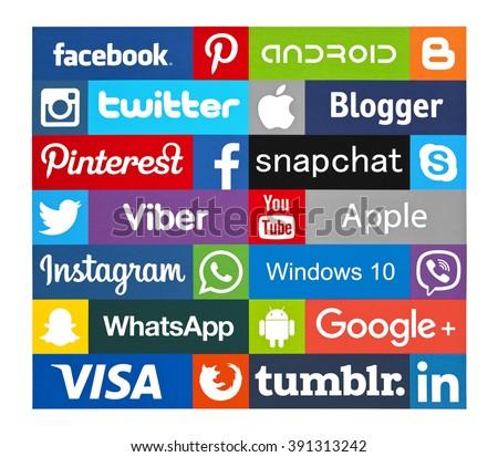 Kiev, Ukraine - March 15, 2016:  Set of most popular social media icons: Twitter, Pinterest, Instagram, Facebook, WhatsApp,Viber,Linkedin, Blogger, Snapchat,Skype, Youtube and others printed on paper. - stock photo