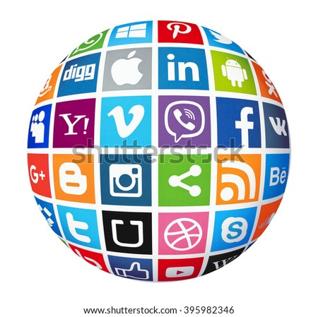 Kiev, Ukraine - March 23, 2016: Set of most popular social media icons:Twitter, Pinterest,Instagram, Facebook, Blogger, WhatsApp,Viber,Vimeo, Linkedin,Android, Youtube, and others printed on paper. - stock photo