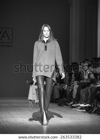KIEV, UKRAINE - MARCH 19, 2015: The model shows a new collection of  Luba Nazarenko SAYYA at the 36th Ukrainian Fashion Week.