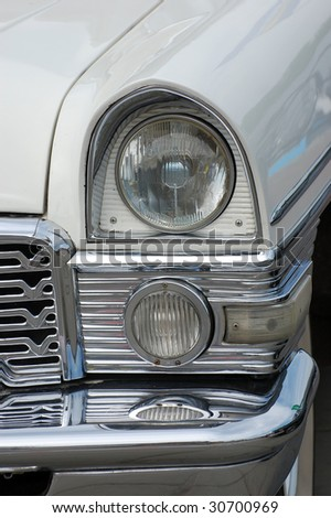 KIEV, UKRAINE - MAY 22: A close up of a classic car is shown at an exhibition of retro cars at the Auto Show 2009 on May 22, 2009 in Kiev. The show took place from May 22-24. - stock photo