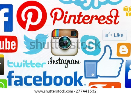 KIEV, UKRAINE - MAY 12, 2015: A logotype collection of  social media brand's  on pc screen. Facebook, YouTube, Twitter, Google Plus, Instagram, Skype ,Pinterest  and other. - stock photo