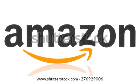 KIEV, UKRAINE - MAY 07, 2015: Amazon logotype printed on paper. Amazon is an American electronic commerce company