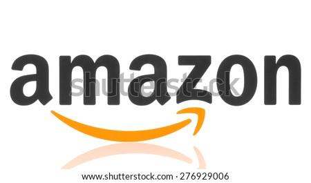 KIEV, UKRAINE - MAY 07, 2015: Amazon logotype printed on paper. Amazon is an American electronic commerce company - stock photo