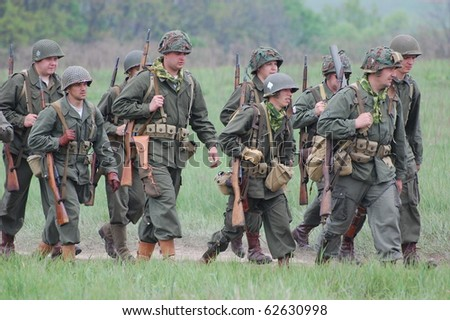 KIEV, UKRAINE - MAY 10 : An unidentified members of Red Star history club wear historical American uniforms during participation in 1945 WWII reenactment May 10, 2010 in Kiev, Ukraine