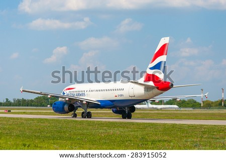 KIEV, UKRAINE - MAY 20, 2015: British Airways Airbus A319-131 in Borispol airport. British Airways if the flag carrier airline of the United Kingdom, operating 277 aircrafts - stock photo