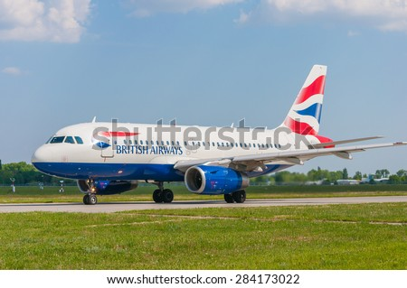 KIEV, UKRAINE - MAY 20, 2015: British Airways Airbus A319-131 taxiing to take-off from KBP on May  20, 2015. British Airways is one of the oldest airlines and rated top 3 biggest in Europe - stock photo