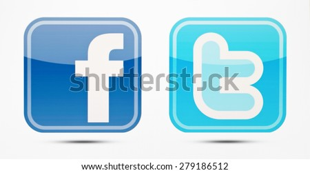 KIEV, UKRAINE - MAY 19, 2015: Facebook and Twitter like logo for e-business, web sites, mobile applications, banners,Social network facebook and twitter sign on pc sign. - stock photo