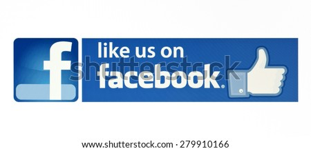 KIEV, UKRAINE - MAY 21, 2015: Facebook like logo for e-business, web sites, mobile applications, banners on pc screen. Facebook one of the largest social networks in the world. - stock photo