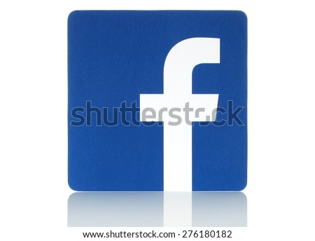 KIEV, UKRAINE - MAY 08, 2015: Facebook logo sign printed on paper and placed on white background. Facebook is a well-known social networking service.  - stock photo