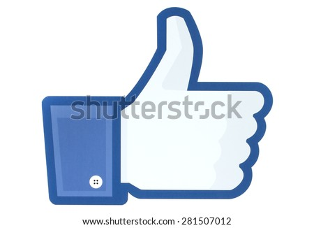 KIEV, UKRAINE - MAY 26, 2015: Facebook thumbs up sign printed on paper. Facebook is a well-known social networking service. - stock photo
