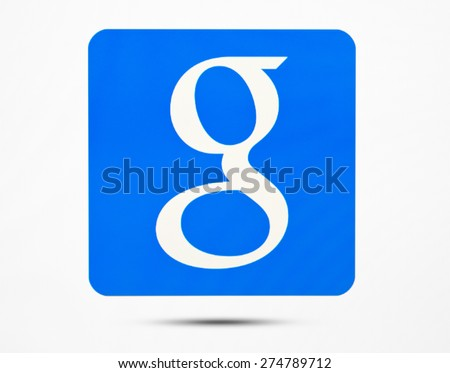 KIEV, UKRAINE - MAY 03, 2015: Google logo icon on pc screen. Google it is the largest Internet search engine, owned of Google Inc. - stock photo