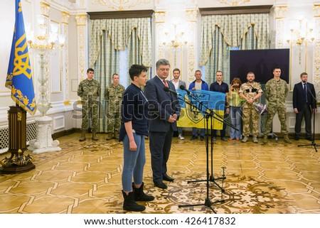 KIEV, UKRAINE - May 25, 2016: Hero of Ukraine Nadiya Savchenko after liberation from Russian prison during a meeting with President of Ukraine Petro Poroshenko - stock photo
