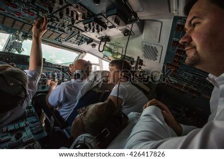 KIEV, UKRAINE - May 25, 2016: Hero of Ukraine Nadiya Savchenko in an airplane on her way home after two years of imprisonment in Russian prison.  - stock photo
