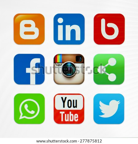 KIEV, UKRAINE - MAY 03, 2015: Icons popular social networking applications. - stock photo