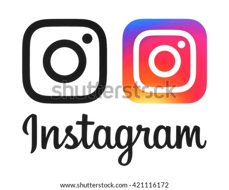 Kiev, Ukraine- May 16, 2016: Instagram new logo and icon printed on white paper. Instagram is an online mobile photo-sharing, video-sharing service. - stock photo