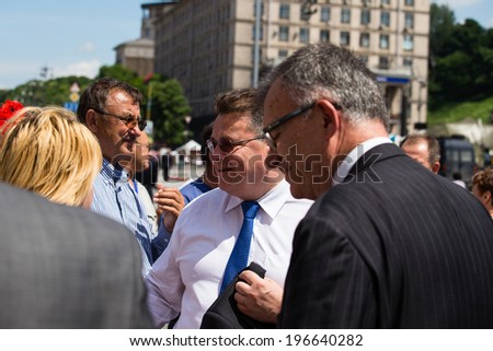 KIEV, UKRAINE - MAY 29, 2014: Lithuanian Foreign Minister Linas Linkevicius meets with protesters on Independence Square in Kiev