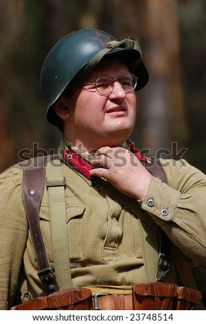 KIEV, UKRAINE, 22 MAY 2008: Member of military history club Red Star. Person in Soviet WW2 military uniform. Historical military reenacting in Kiev, Ukraine, 22 May, 2008.