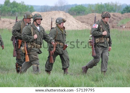 KIEV, UKRAINE - MAY 10 : members of Red Star history club wear historical American uniforms during participation in 1945 WWII reenactment May 10, 2010 in Kiev, Ukraine