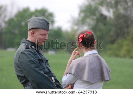 KIEV, UKRAINE - MAY 10 : members of Red Star history club wear historical German costume&uniform during historical reenactment of 1945 WWII, May 10, 2010 in Kiev, Ukraine