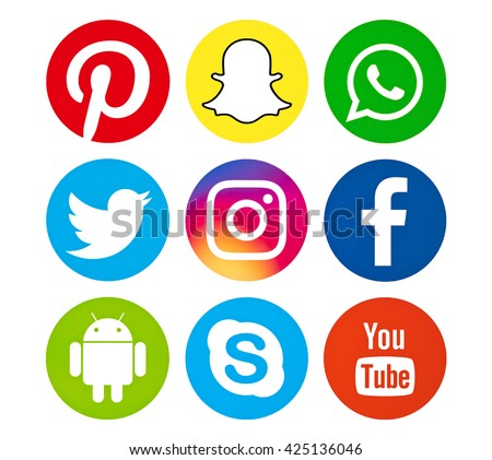 Kiev, Ukraine - May 23, 2016: Set of most popular social media icons:  Pinterest, Twitter, YouTube, WhatsApp, Snapchat, Facebook ,Skype ,instagram, Android and others logos printed on paper. - stock photo
