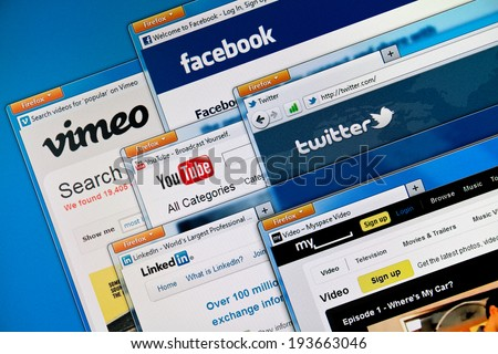 KIEV, UKRAINE - MAY 29, 2011: Social media web sites on a computer screen, including Vimeo, Facebook, Youtube, Twitter, Linkedin and MySpace. This social media sites are the most visited in the world. - stock photo