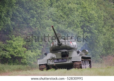 KIEV, UKRAINE - MAY 10 : Soviet tank T-34 during historical reenactment of 1945 WWII, May 10, 2010 in Kiev, Ukraine.