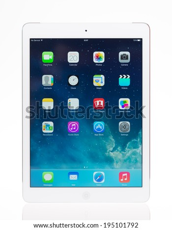 KIEV, UKRAINE - MAY 20, 2014: Studio shot of brand new white Apple iPad Air, the most advanced digital tablet in part of the iPad line. Developed by Apple inc. and was released on November 1, 2013. - stock photo