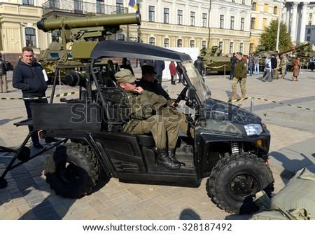 Kiev, Ukraine,  Michael's Square, October 16, 2015. The exhibition of military equipment, on the Day of Defender of Ukraine. Mobile antitank system - stock photo