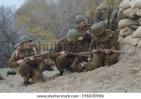 KIEV, UKRAINE -NOV 3. An unidentified members of Red Star history club wear historical Czech uniform during historical reenactment of WWII, November 3, 2013 Kiev, Ukraine  - stock photo
