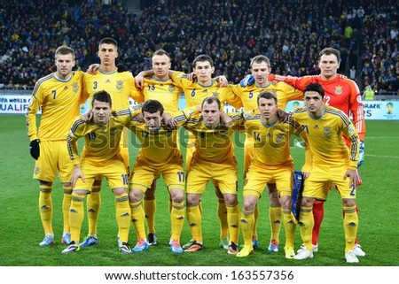 KIEV, UKRAINE - NOV 15: Group photo of the Ukrainian national team before the play-off match for the 2014 World Cup between Ukraine vs France, 15 November 2013, NSC Olympic Stadium, Kiev, Ukraine  - stock photo