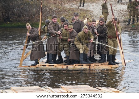 KIEV, UKRAINE - NOV 3,2013: Second World War on the history Military reconstruction in Kyiv. History club Red Star - stock photo
