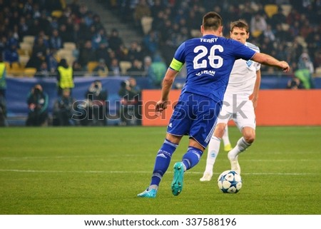 KIEV, UKRAINE - OCT 20: Gary Cahill during the UEFA Champions League match between Dinamo Kiev vs Chelsea (London, England), 20 October 2015, Olympic NSC, Ukraine