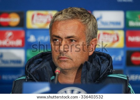 KIEV, UKRAINE - OCT 20: Head coach of Chelsea manager Jose Mourinho at a press conference during the UEFA Champions League match between Dinamo Kiev vs Chelsea, 20 October 2015, Olympic NSC, Ukraine - stock photo