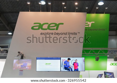 KIEV, UKRAINE - OCTOBER 11, 2015: Acer, a Taiwan based international computer company booth during CEE 2015, the largest electronics trade show of Ukraine in ExpoPlaza Exhibition Center.